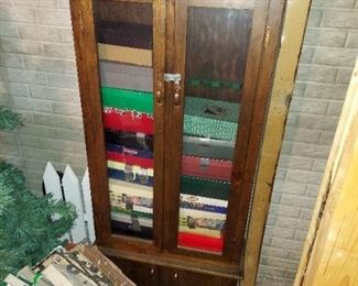 6' Tall Pine Glass Front Cabinet