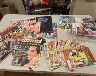 Collectible Magazines. Life, comic books, Vanity Fair, Enquirer, Sports Illustrated.