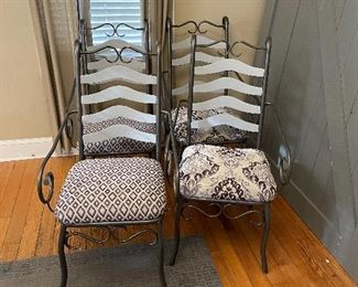 set of 4 iron chairs with coordinating purple seats