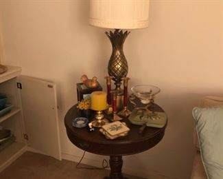 Round Table and Pineapple  Lamp