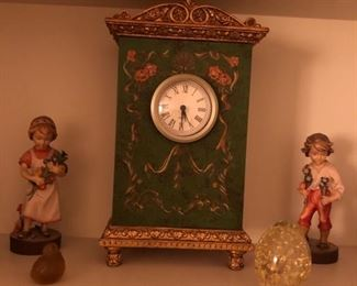 Console Clock, figurines and paperweight