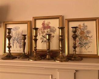 Brass Candlesticks and  Botanical Artwork