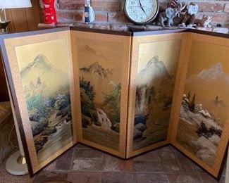 JAPANESE VINTAGE 4 PANEL FOLDING ROOM DIVIDER