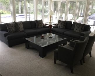 """Custom ordered:  Grey linen look sofa and loveseat w/black granite cocktail table 40"""" x 54"""" & 2 arm chairs"""