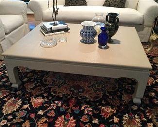 "Cocktail table 86"" x 40"" w/basket weave pattern"