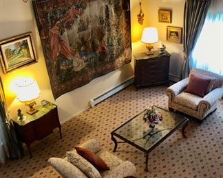Pair upholstered chairs, Tapestry & tables
