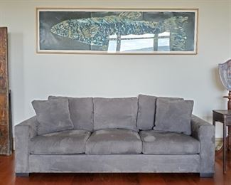 Room & Board sofa (fabric would benefit from a thorough cleaning but cushions are in good shape). Peg Summers, large fish original painting.