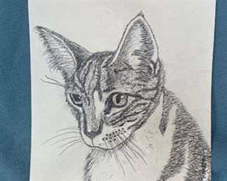 Original sketch of cat by local artist Roger Miller - approximately 8x10 inches