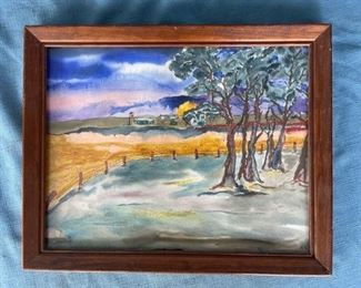 Original framed watercolor by local artist Roger Miller - approximately 11x14 inches