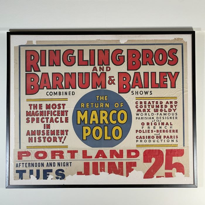 """RINGLING BROS AND BARNUM & BAILEY POSTER   Ringling & Barnum combined show circus poster: """"THE RETURN OF MARCO POLO / Portland / June 25 … The Most Magnificent Spectacle in Amusement History!"""" [some condition issues as pictured, in overall good condition commensurate with age]; sheet 32 x 40-1/2 in. (approx.); overall 36-3/4 x 44-1/2 in. (frame)"""