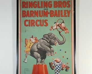 RINGLING BROS AND BARNUM & BAILEY POSTER   Lawson Wood Ringling circus poster, showing an elephant performing with monkeys dressed as clowns, copyright 1944 Ringling Bros. And Barnum & Bailey Combined Show; overall 43 x 29-1/2 in. (frame)