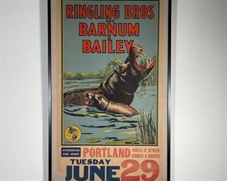 """RINGLING BROS AND BARNUM & BAILEY POSTER   Bill Bailey Ringling circus poster, showing two hippos in a pond: """"RINGLING BROS AND BARNUM & BAILEY / The Greatest Show on Earth / Portand / Tuesday June 29"""" [some tears/losses/creases to sheet as pictured, but appearing in overall good condition commensurate with age]; sheet 49-1/2 x 28 in.; overall 54 x 32-1/2 in. (frame)"""