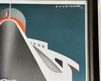 """NORMANDIE POSTER   """"Normandie Cie. Gle. Transatlantique / French Line / Le Havre - Southampton - New-York / Voyage Inaugural / 29 Mai 1935"""" with signature in the print upper right, """"A.M. Cassandre 35""""; in a black frame; overall 42 x 27 in."""