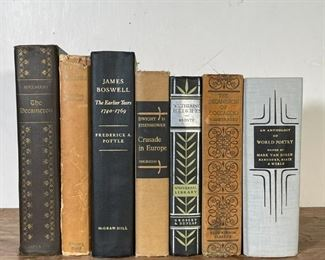 """(7vol) FANCY BINDING   A collection of hardcover books, including: """"An Anthology of World Poetry,"""" James Boswell: The Earlier Years 1740-1769, Boccaccio: The Decameron (plus an illustrated edition of The Decameron), Dwight D. Eisenhower: Crusade in Europe, Wuthering Heights, and a title by Geoffrey Chaucer [varying condition, as pictured]"""