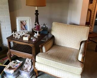 Chair, Side Table, Lamp, Vintage Towels, Lenox