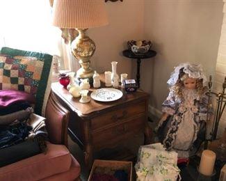 Pair of Lamps, Pair of Side Tables, Belleek, Vintage Aprons