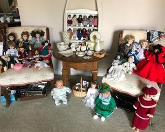 American Girl Mini Dolls w/ Shelf, Dolls, Pair of Chairs, Accent Table
