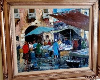 The market oil painting