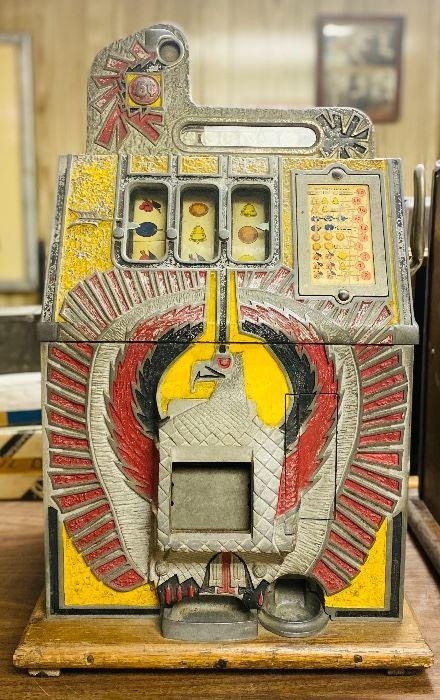 Original 1930s Mills War Eagle nickle slot machine.
