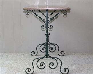 """A work of art!  Gorgeous antique c. 1920's pink marble topped hand wrought iron table 30"""" wide, 20"""" deep, and 30"""" tall.  Note the rounded edge on the marble top (and the canted corners!) in superb antique condition!"""