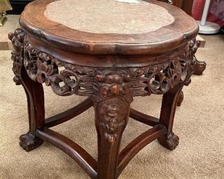 WELCOME -ANTIQUE CHINESE TABLE WITH INSET MARBLE TOP