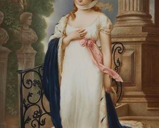 "1011 A Framed KPM Porcelain Portrait Plaque Mid-19th Century Marked: KPM [scepter] / W / 407 / 263; Signed: Wagner After Gustav Richter's (1823-1884, German) portrait of Louise of Mecklenburg-Strelitz, Queen of Prussia Sight: 15.5"" H x 9.75"" W Estimate: $5,000 - $7,000"