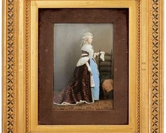 """1012 A Framed KPM Portrait Plaque 19th Century Marked: KPM / A The rectangular portrait plaque depicting an aristocratic woman in profile posed with a chair and fan enclosed in a giltwood passe-partout frame with a purple velvet molding Sight: 9"""" H x 6.25"""" W Estimate: $1,000 - $2,000"""