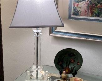 Acrylic Table Lamp, Enamel/Metal Decor
