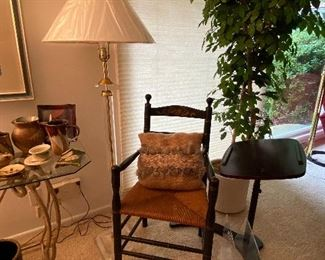 Acrylic Floor Lamp, Faux Fichus Tree, Adjustable Portable Desk, Wooden Side Chair with Woven Seat