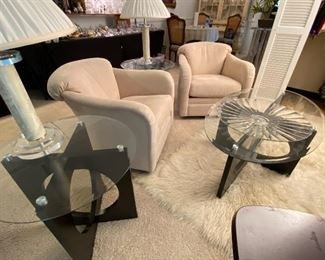 Black Lacquered Tables with Glass Tops, Like New Pumco Interiors Matching Swivel Chairs