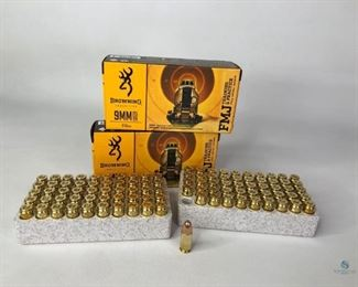 Browning 9mm Ammo Browning Ammunition 9mm Luger, 115GR, FMJ Training and Practice, Two boxes of 50.