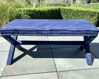 Contemporary Navy Suede X Bench By Safavieh Lot #: 1