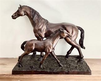 Cast Metal Horse And Foal Sculpture Lot #: 5