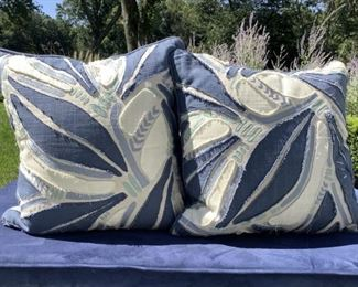 A Pair Of Navy, Teal And Off White Cut Out Pillows By Villa Lot #: 8