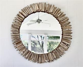 Oversized Driftwood Round Mirror Lot #: 10