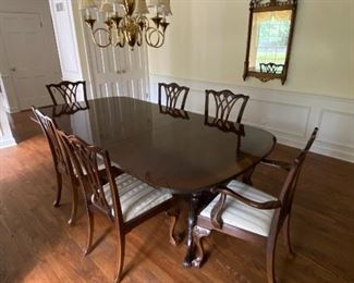 Drexel Heritage extension dining table, 6 chippendale ball and claw chairs