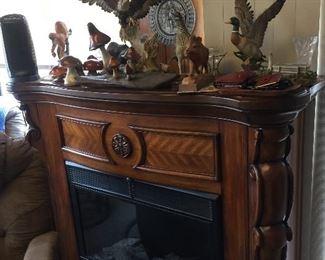Beautiful freestanding fireplace.