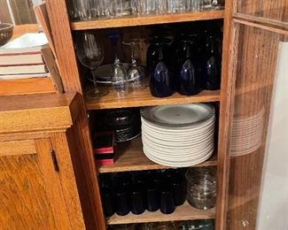 lots of glassware and entertaining platters