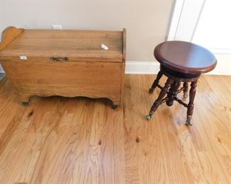 Nice oak chest and  vintage mahogany organ stool.