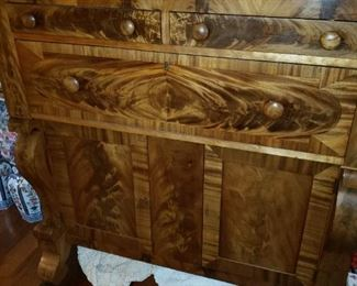 This piece is absolutely wonderful - Antique Eastlake. Burlwood front.