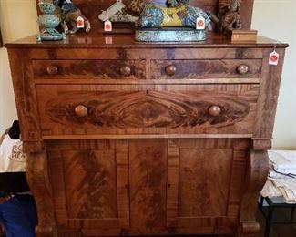 Antique Eastlake Burl Front Cabinet