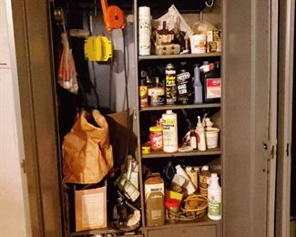 Five 7 ft tall storage lockers with shelves and drawers filled with car mechanic, electrical and general construction items.