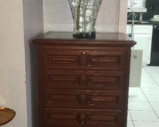 Ricardo Lynn & Company Teak Flatware storage chest with marble inlay on top