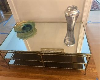 La-Z-Boy brass and glass with mirror top coffee table