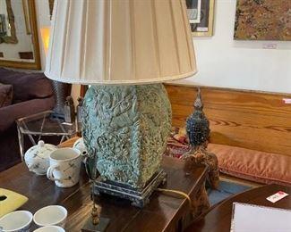 Floral Base Carved Lamp