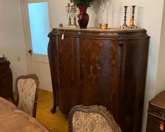 Inlaid marble op server to be sold with matching buffet and table