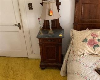 Marble top nightstand part of a pair that to be sold with matching twins beds and 2 marble top dressers