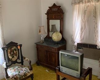 Marble top dresser and Victorian Dove Chair