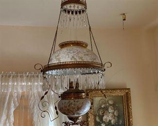 Oil lamp chandelier in Master bedroom