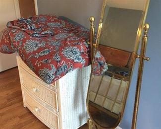 Standing Mirror, white wicker chest and Ralph Lauren Bedding set.